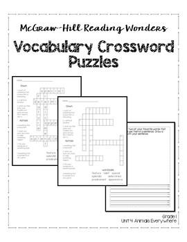 McGraw-Hill Reading Wonders Grade 1 Unit 4 Vocabulary
