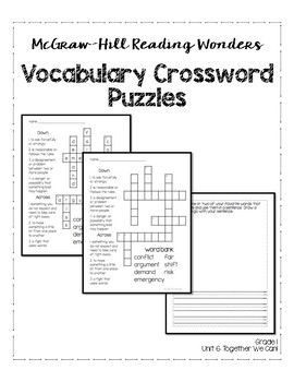 McGraw-Hill Reading Wonders Grade 1 Unit 6 Vocabulary