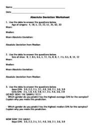 Math Mean Absolute Deviation Worksheet Answer. Math. Best ...