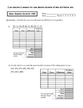 Worksheet Mean Absolute Deviation  Livinghealthybulletin