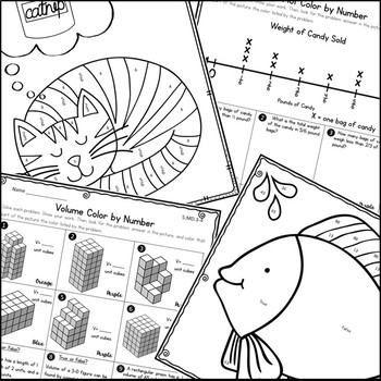 Measurement & Data Coloring Activities- Fifth Grade by