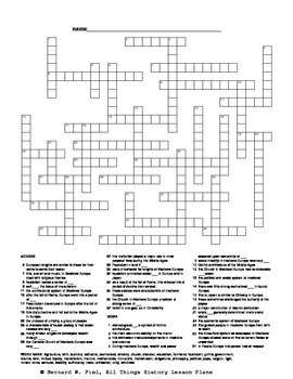 Medieval Europe Crossword Puzzle by All Things History
