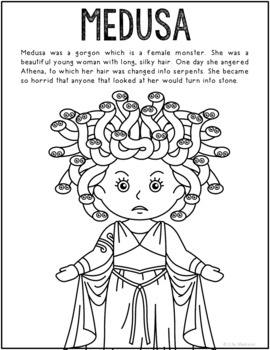 Medusa, Greek Mythology Informational Text Coloring Page