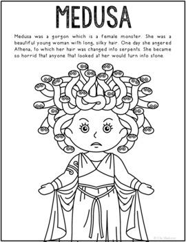 Medusa, Greek Mythology Informational Text Coloring Page