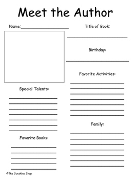 All about the author template for kids