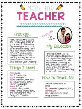 Meet The Teacher Letter! By Third Grade Corner TpT
