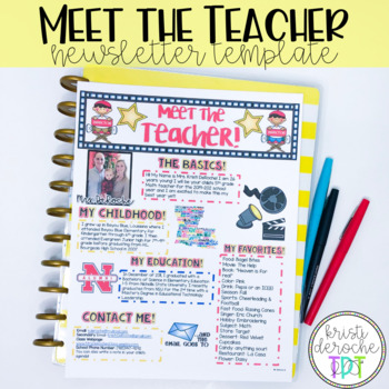 Meet The Teacher Newsletter EDITABLE Hollywood Theme By