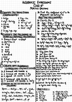 Mega worksheet- Algebraic Expressions (CBSE) by Didi's
