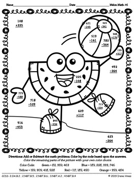 Melon Math ~ 3 Digit Addition & Subtraction With