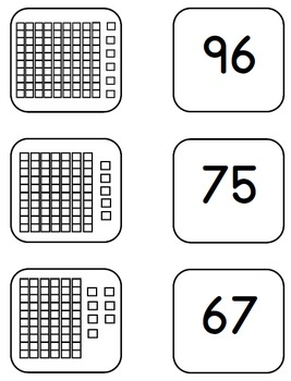 Memory Matching Game Place Value Base 10 Blocks and Cubes