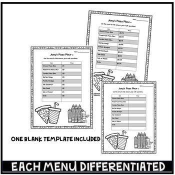 Menu Math Activity Differentiated Math Centers by Kitten