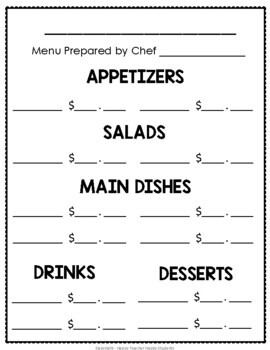 Create Your Own Restaurant! Menu Math Activity by