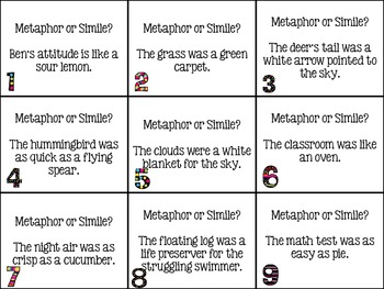 Metaphor And Simile Scoot! Game By Brittany Ensminger TpT