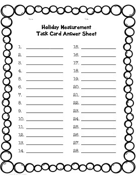 Metric Measurement Holiday Task Card Review Activity by