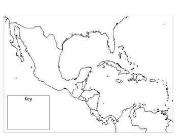 Mexico, Central America, & the Caribbean Outline Map by