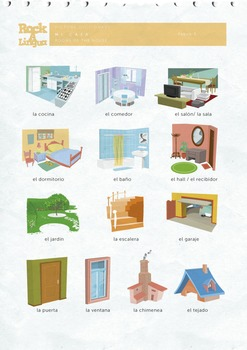 Mi Casa Rooms of the house in Spanish songs  worksheet