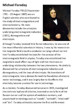 Michael Faraday Teaching Resources Teachers Pay Teachers