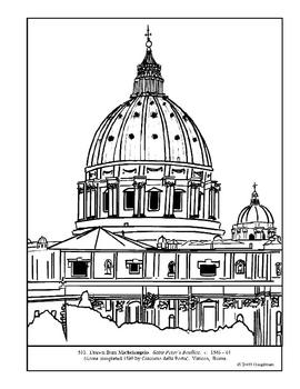 Michelangelo. Saint Peter's Basilica. Coloring page