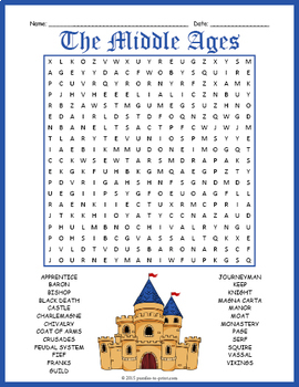 Middle Ages Word Search Puzzle by Puzzles to Print TpT