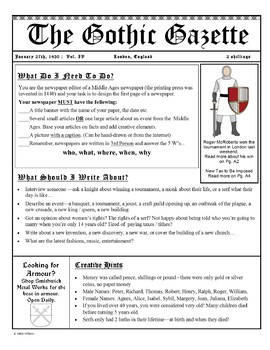 Middle Ages Medieval Newspaper By Addie Williams TpT