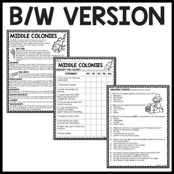Middle Colonies Reading Comprehension Worksheet Colonial