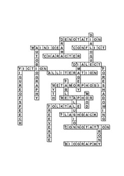 Middle School Literary Terms Crossword Puzzles by The Lit