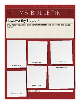 Middle School Weekly Bulletin Template By Adrienne F  Tpt