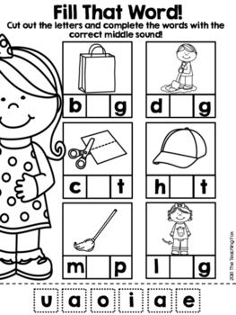 Middle Sound Word Work with Cut and Paste by The Teaching