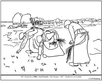 Millet. The Gleaners. Coloring page and lesson plan ideas