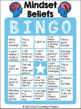 Mindset Beliefs Bingo By School Counseling Is Magical TpT
