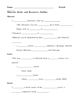 Minerals Rocks and Resources Notes Outline Lesson Plan by
