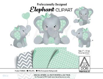 mint baby elephant polka