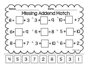 Missing Addend Cut & Paste- Common Core Aligned- ENY