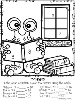 Missing Addends Back To School Color-By-Number by