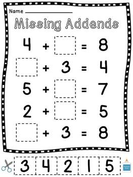 Missing Addends Cut Sort Paste Worksheets by Miss Giraffe