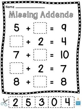 Missing Addends Worksheets Cut Sort Paste Activities by