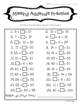 Missing Addends/Mental Math Practice--2-Digit Addition by