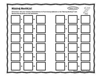 Missing Monkeys: Math Centers with Missing Addends