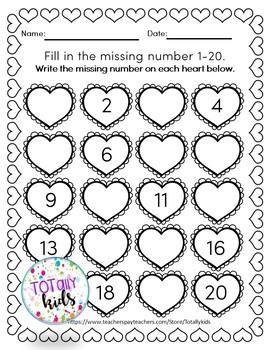 Valentines:Missing Number 1-20 B&W Pre-K and Kindergarten