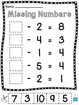 Missing Subtrahends and Missing Minuends Worksheets by