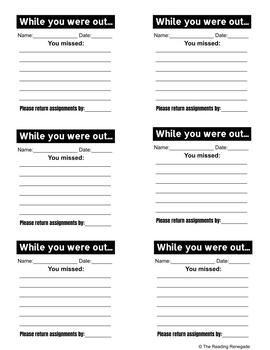 Missing Work Sticky Note Templates by The Reading Renegade