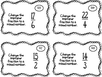 Mixed Numbers and Improper Fractions Task Cards by My