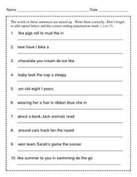 Mixed Up Sentences / Writing Sentences / 2nd Grade / 3rd ...