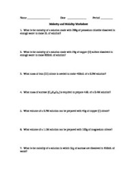 Molarity Calculations Worksheet - Kidz Activities