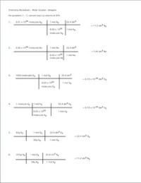 Mole Practice Worksheet #5: Molar Volume of a Gas by Amy ...