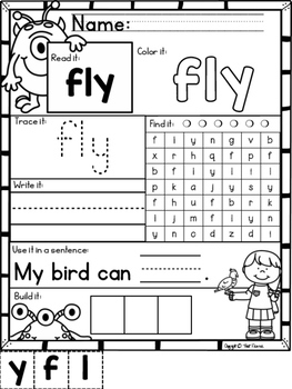 Mon-STAR Sight Words Supreme NO PREP Printables for First
