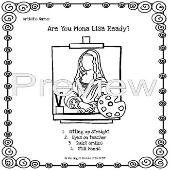 (Freebie) Mona Lisa Ready Anchor Chart & Coloring Sheet by