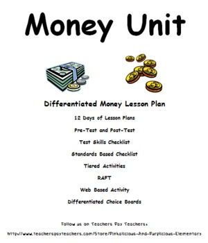 Money Differentiated Unit Pretest Post Test Tiered