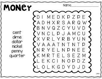 Money Vocabulary Activities by Carrie Mayville at Hometown