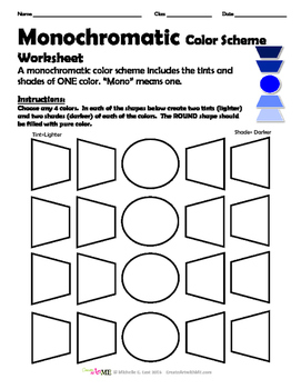 Monochromatic Color Scheme Worksheet by Create Art with ME
